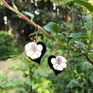 Laurel Burch Enamel Earrings Hibiscus Heart Black